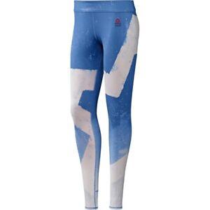 Details about Reebok Ladies CrossFit Reversible Chalk Chase Leggings Blue B45244