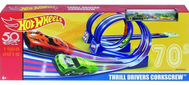 Hot Wheels Thrill Drivers Corkscrew Playset Looping Infernal Double Loop Track
