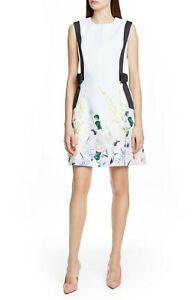 Ted-Baker-Marzy-Elegance-Bow-A-Line-Floral-White-Dress-Size-4-US-8-10-NWT