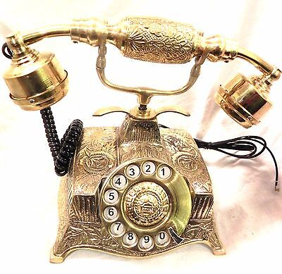 ANTIQUE / VINTAGE LOOK  ~  BRASS BASE ~  BRASS ROTARY ~  TELEPHONE ~ PHONE
