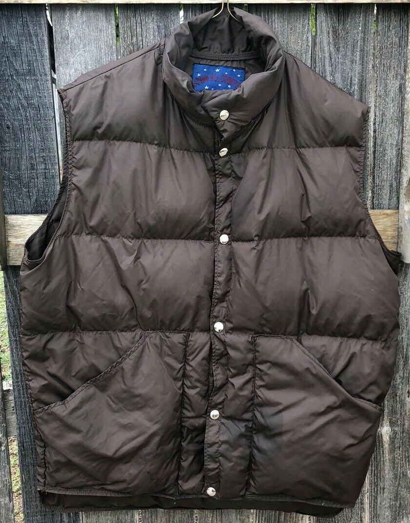 Down Fill Country U.S.A Denver colorado Mens L Brown Down Filled Outdoor Vest