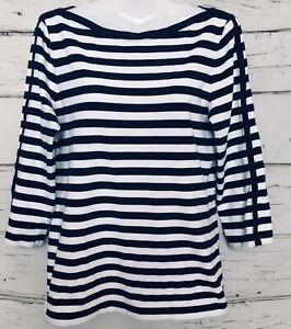 Ralph-LAUREN-T-shirt-Navy-amp-WHITE-STRIPES-NAUTICA-BARCA-Girocollo-Maniche-a-3-4