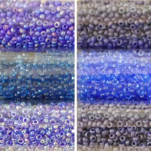Miyuki Rocailles 15//0 rund 1,5 mm dunkelblau 5g = 1 Röhrchen blau blaugrau