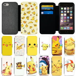 huge selection of 66856 941a9 Details about Cute Cartoon Pikachu Pokemon Flip Wallet Phone Case For  iPhone 5s 6 7 8 X Cover
