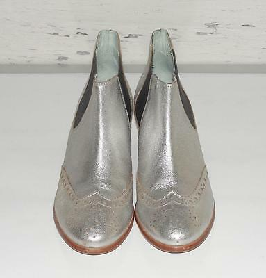 BODEN~SILVER~ULTRA-SOFT LEATHER *BROGUED CHELSEA* FASHION ANKLE SHORT BOOTS~38