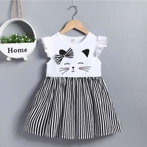 Toddler-Kids-Baby-Girl-Sleeveless-Cat-Print-Stripe-Princess-Dress-Casual-Clothes