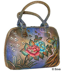 Image Is Loading Sova Hand Painted Leather Satchel