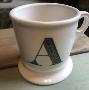 Anthropologie-Monogram-Mug-Alphabet-Letter-Initial-Shaving-Style-White-Black-A