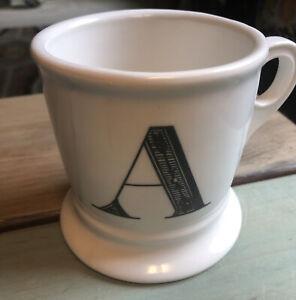 Anthropologie Monogram Mug Alphabet Letter Initial Shaving Style White Black A