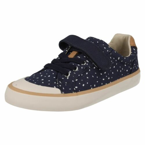 CLARKS JUNIOR GIRLS NAVY CANVAS-COMIC MAX