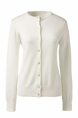 Lands End  Women/'s LS Supima Crew Cardigan Sweater White New