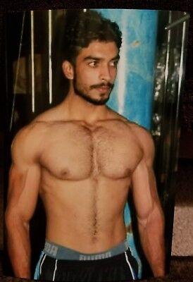 Shirtless Muscular Male Beefcake Dark Hairy Chest Abs Beard Hunk PHOTO 4X6 F659