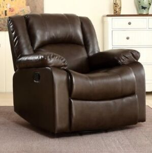 Brown Leather Swivel Rocker Glider Recliner Arm Chair ...