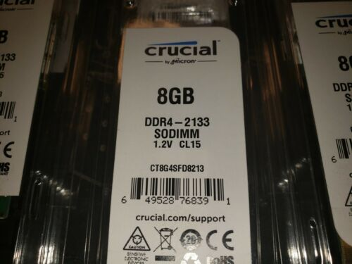 NEW Crucial 8GB DDR4-2133 SODIMM 1.2V CL15 Laptop Memory RAM CT8G4SFD8213 Sealed