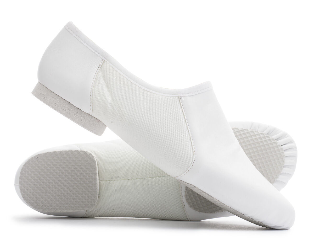 White PU Pull On Rubber Split Sole Jazz Dance Practice Shoes By Katz All Sizes