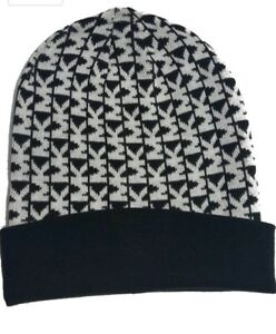 a8b2bf7d26b NWT  42 MICHAEL KORS Womens Knit Beanie Hat Black White MK Logo ...