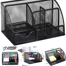 Greenco Mesh Office Supplies Desk Organizer Caddy 6 Compartments Black Large