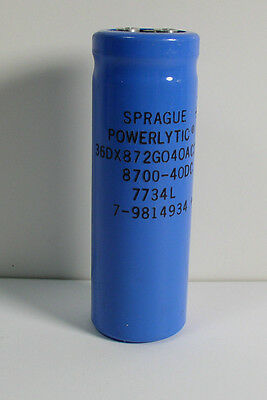 LOT OF 2 SPRAGUE 8700uF 40V Large Can Electrolytic Capacitor 36DX872G040AC2A
