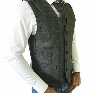 Homme Mélange Laine Tweed Carreaux Gris Herringbone Gilet/gilet-tailles Small - 2xl-afficher Le Titre D'origine Art De La Broderie Traditionnelle Exquise