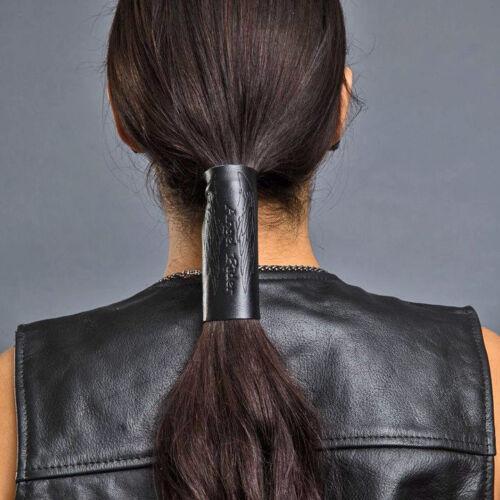 "Ponytail Holder 11449 Hair Glove® 4"" Embossed Angel Rider Black Leather"