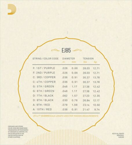 D/'Addario Bajo Quinto Strings EJ85 10 String Phosphor Bronze
