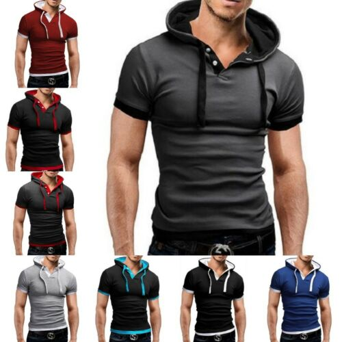 New Polo Shirt Men Hooded Short Sleeve Solid Slim Fit Casual Breathable Shirt