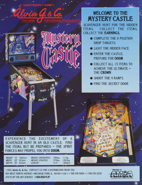 Alvin G. & Co. MYSTERY CASTLE Original Arcade Flipper Game Pinball Machine Flyer