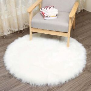 Details About White Sheepskin Carpet Faux Mat Fur Plain Fluffy Soft Area Rug Round Gift