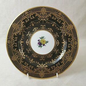Caverswall-Cabinet-Plate-Heavily-Gilded-Black-With-Flowers