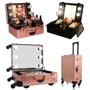 Rolling Makeup Case Wheeled Trolley Portable Artist Train