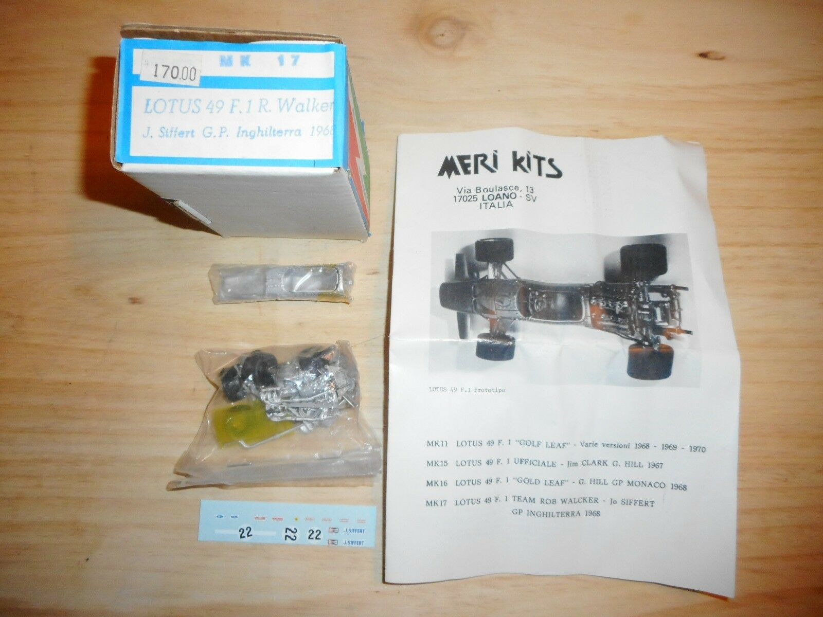 MERI KITS kit vintage 1 43 LOTUS 49 F.1  R.WALKER grand prix ANGLETERRE  1968