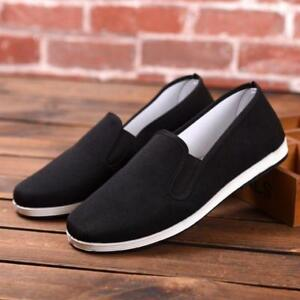 Beijing-Mens-Slip-On-Casual-Canvas-Shoes-Flats-Driving-Black-Pull-On-Loafer-HOT