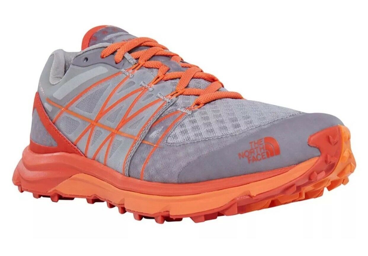 The North Face Men's Ultra Vertical Grey/Orange Running Shoes.
