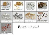 Clip On Earring Findings For Non-pierced Ears 10 Choose Color And Style