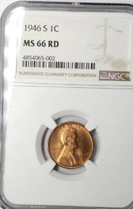 NGC MS66 1946-S Red Lincoln Wheat Penny