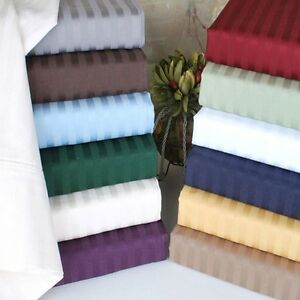Top-Quality-3-pc-Fitted-Sheet-Set-1000TC-Egyptian-Cotton-All-Size-Striped-Colors