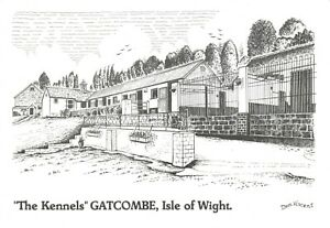 Art-Sketch-Postcard-The-Kennels-GATCOMBE-Isle-of-Wight-by-Don-Vincent-AS1