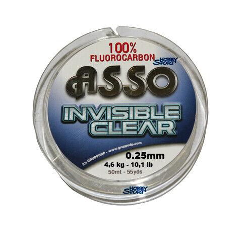 FILO ASSO FLUOROCARBON INVISIBILE CLEAR 0,25mm 50 MT MT MT  precios bajos