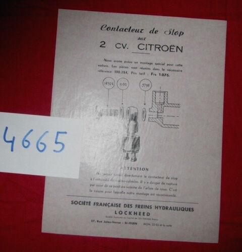 prospectus contacteur de stop sur 2 cv CITROEN  Lockheed N°4665
