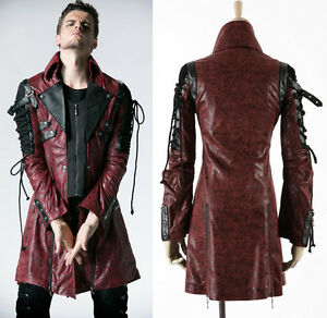 Details zu Schnürung Leder Jacke Mantel Gothic Punk Steampunk Vintage PunkRave Herren Rot