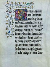 "STUNDENBUCH BLATT PERGAMENT FRANKREICH GOLD INITIALE ""D"" DORNENRANKE BLÜTEN 1420"