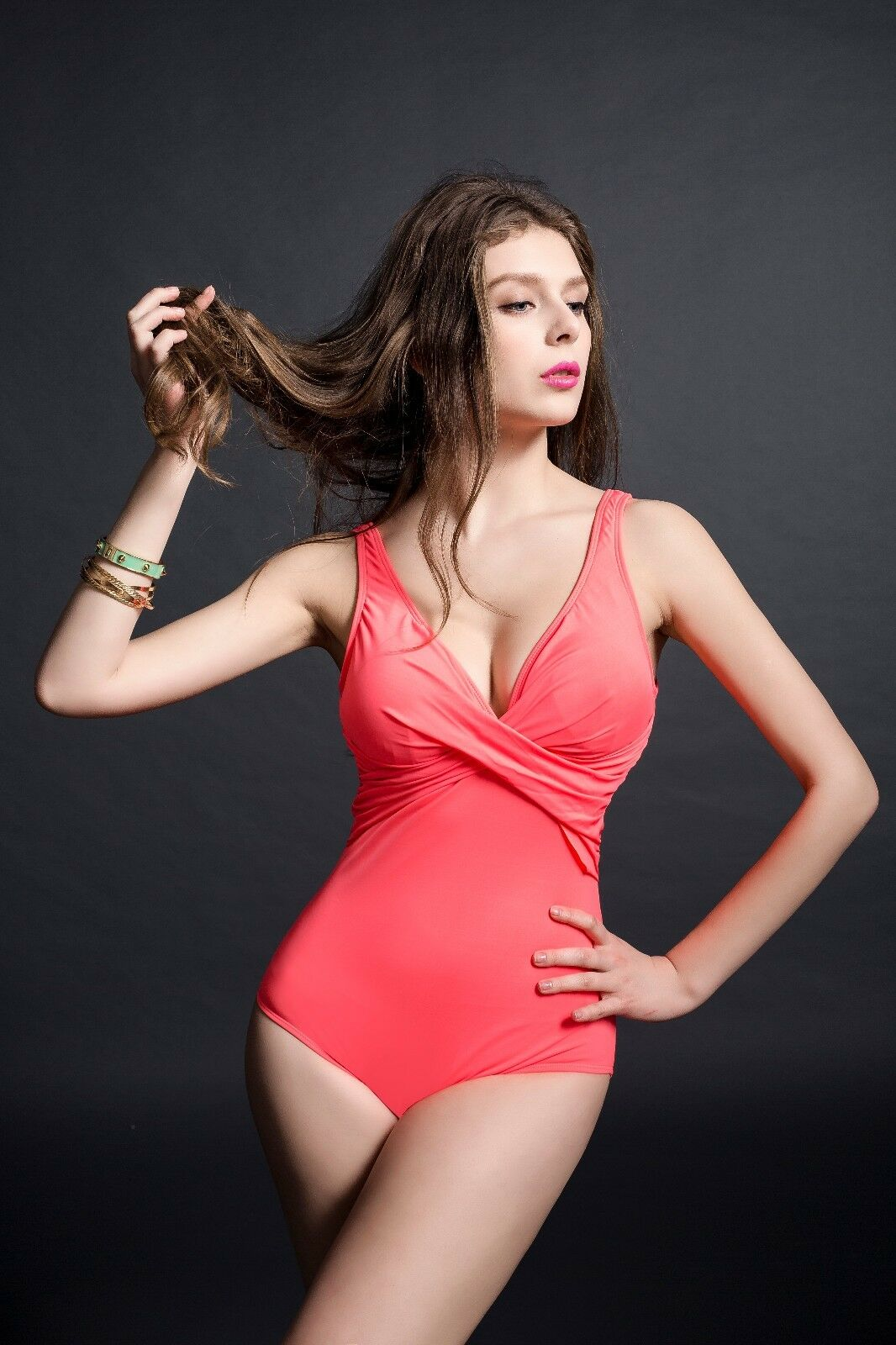 One Piece Red Swimsuit With Crossed Ruffles For Women