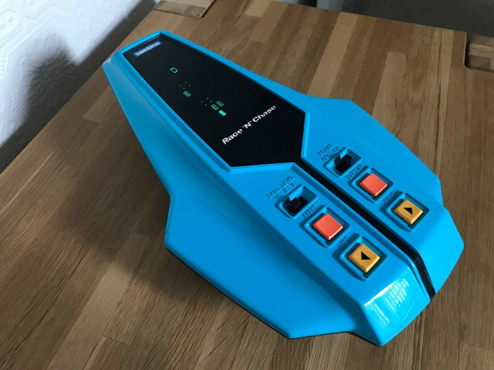 Bambino Race N Chase Vintage 1982 VFD Handheld Electronic Game - Super Condition