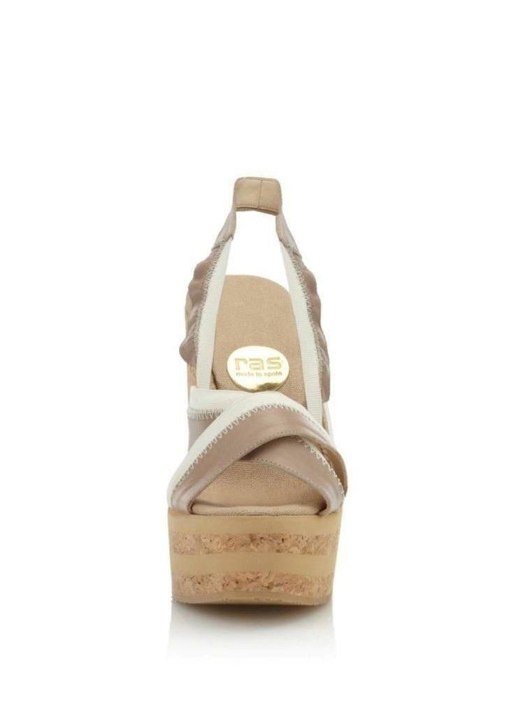 RAS Women's Two-Toned Two-Toned Two-Toned Cork Wedge Taupe Cream Leather Elastic Open toe Sandal NEW 268307