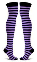 Purple And Black Striped Socks Thigh High Over Knee One Size Crazy Cosplay