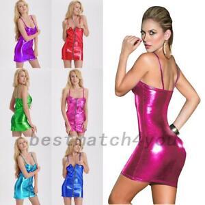 1x-Sexy-Women-Shiny-PU-Leather-Slim-Fit-Sheath-Bodycon-Cocktail-Party-Mini-Dress