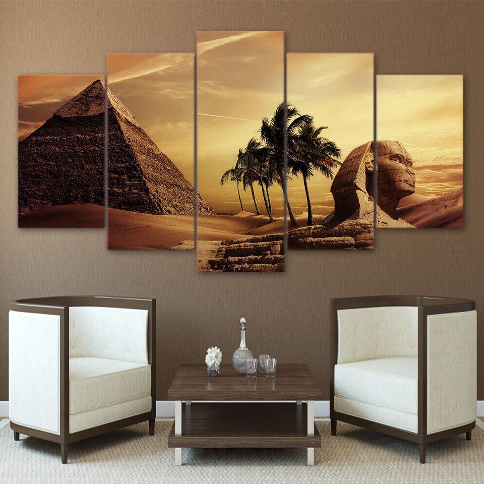Pyramid Egypt Androsphinx Sunset 5 Panel Canvas Print Wall Art