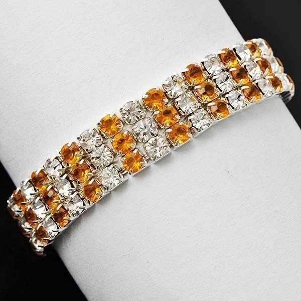 Fashion Womens White GF Silver 3-ROW Clear and Yellow CZ elastic Bracelet