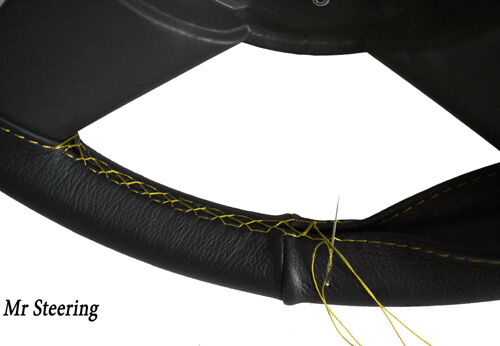 FOR LAND ROVER SERIES 2 1958-61 BLACK LEATHER STEERING WHEEL COVER YELLOW STITCH
