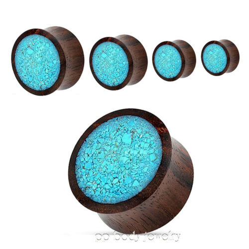 """PAIR Organic Sono Wood with Crushed Turquoise Center Saddle Ear Plugs 2G to 1/"""""""